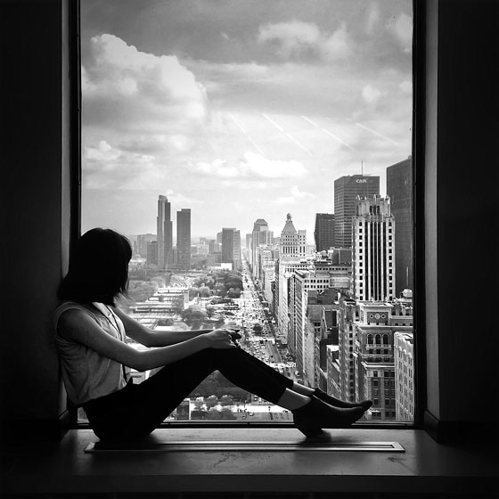 Personality photo quiz woman in window black and white jpg